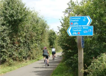 Cyclists on cycle path