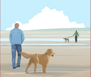 Drawing of dog walkers on a beach