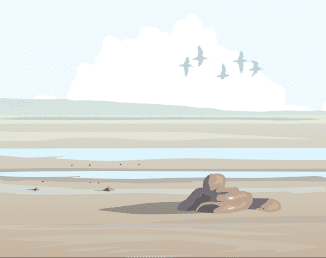 Drawing of an empty beach