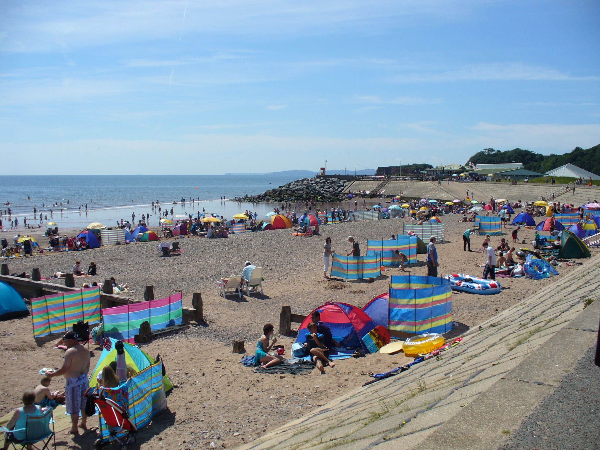 Dawlish Warren full of people on a sunny day.