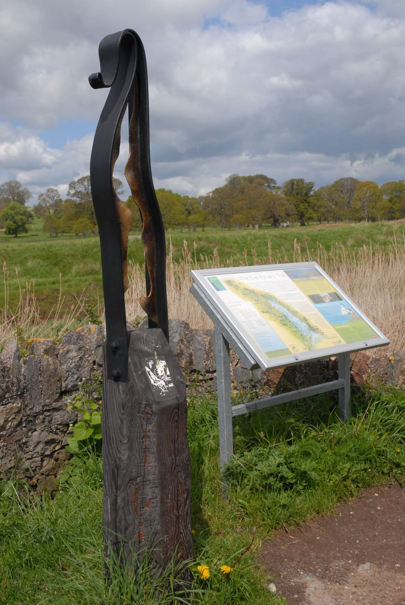 Image 6b: Interpretation board and Exe Trail marker on the Exe Estuary